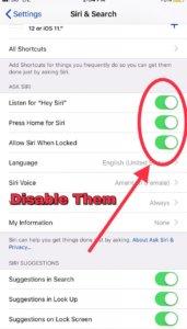 Disable Siri