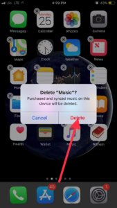 Confirm Delete of an app