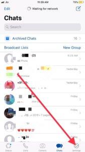 Settings of Whatsapp