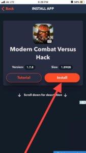 Modern Combat Versus Hack iOS