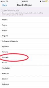 Change country to Australia