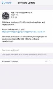 iOS 13 Developer Beta 6