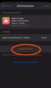 Cancel Free Trial of Apple Arcade