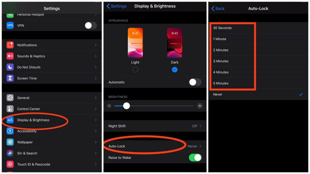 How to change auto-lock timer iOS 13