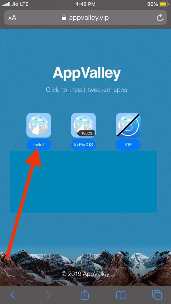 Install App Valley to download chimera jailbreak iOS 12
