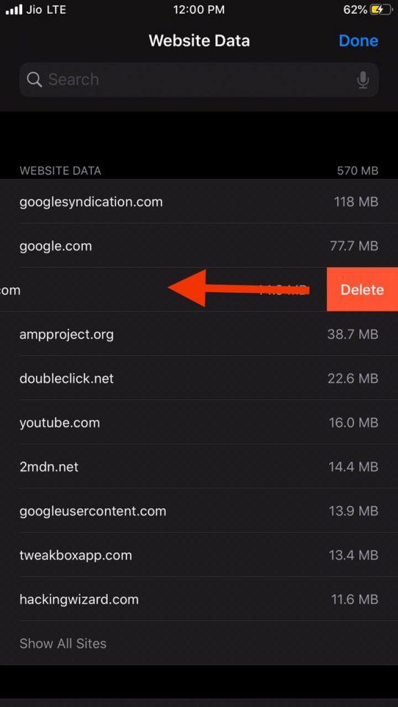 Delete Safari cache of particular websites