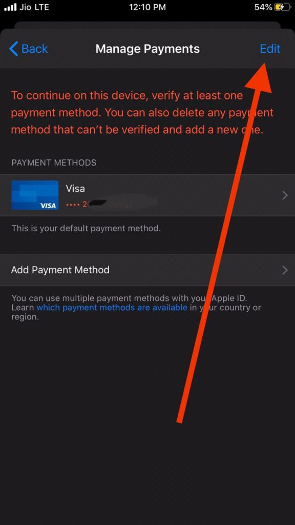 Edit Payment method to remove credit card