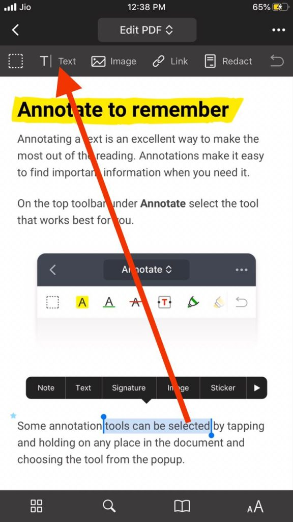 Select text option to edit PDF text iPhone