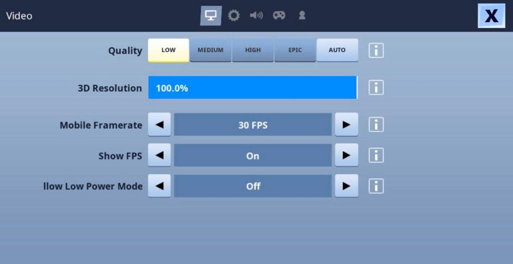 Low Resolution in Fortnite saves battery