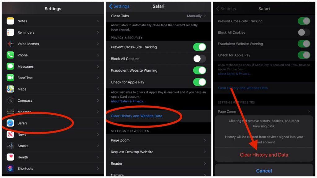 How to clear Safari Cache in Safari on iPhone