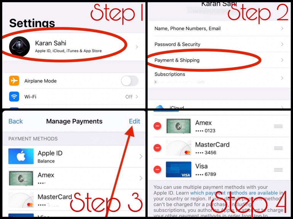 how do you remove credit card from apple id