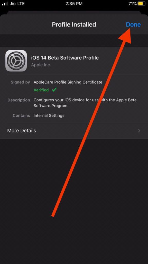 iOS 14 Developer Beta Profile Downloaded