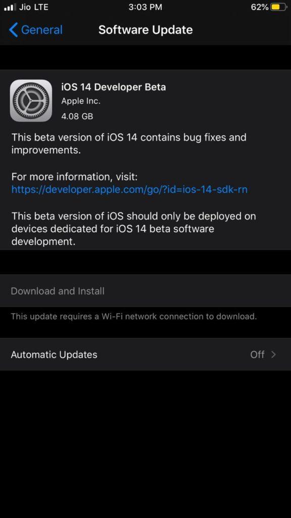 iOS 14 Developer Beta Download